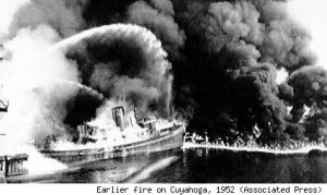 Cuyahoga River burns due to chemicals and pollution
