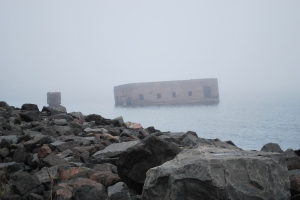 Sunk in bay, note the fog
