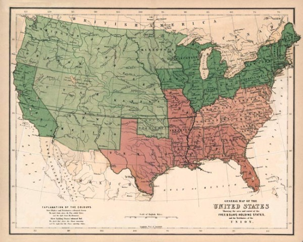 1857 Smithsonian map prior to the Civil War, pink shows the slave states